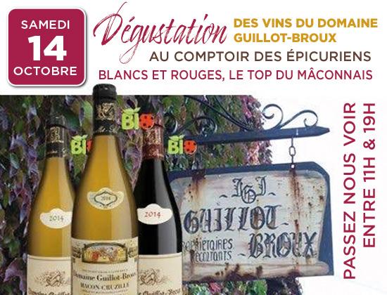 14 octobre, dégustation des vins du domaine Guillot-Broux